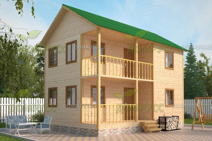 Двухэтажный дом из бруса с террасой и балконом - домрусс.