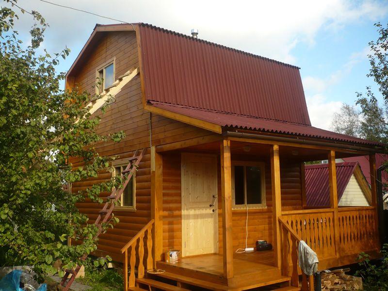 дом-баня 6х8 из бруса с балконом и террасой