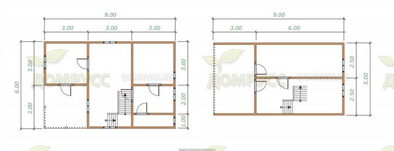 план проекта дома-бани из бруса 6х8 метров с мансардой