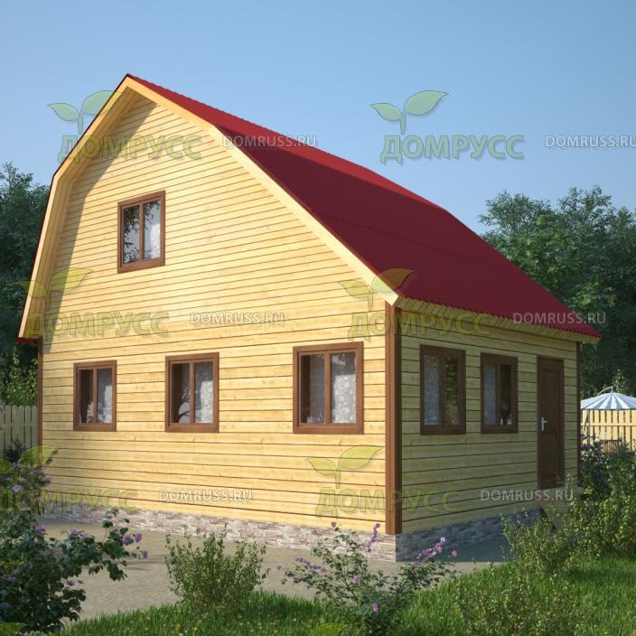 проект дома из бруса с ломаной крыши