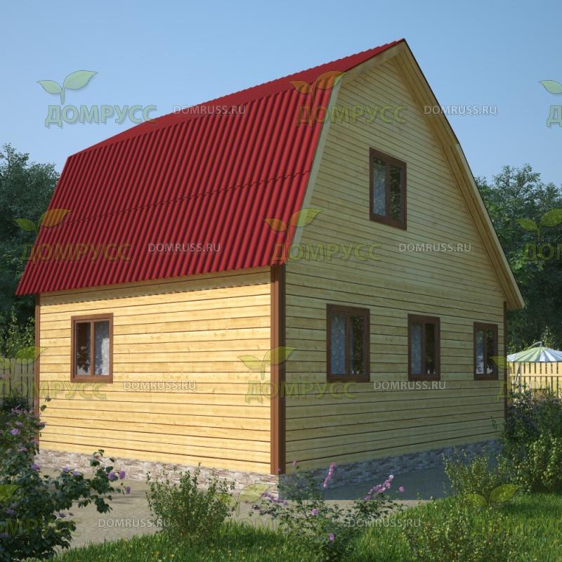 проект деревянного дома с ломаной конструкцией крыши