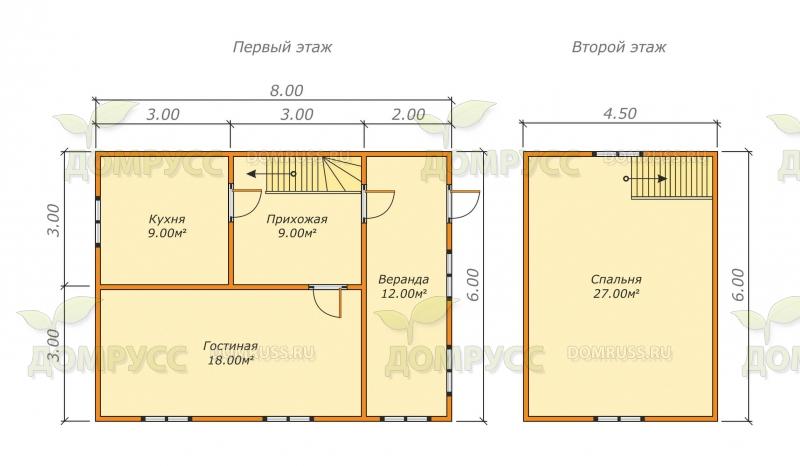план проекта дома из бруса с ломаной крышей