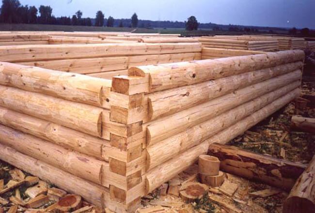 рубка стен деревянных домов в лапу