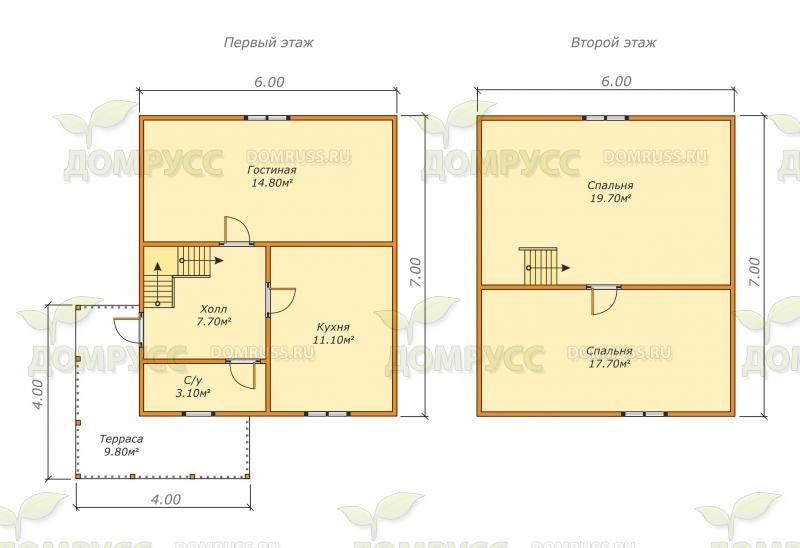 планировка первого и второго этажей для дома из бруса 6х7