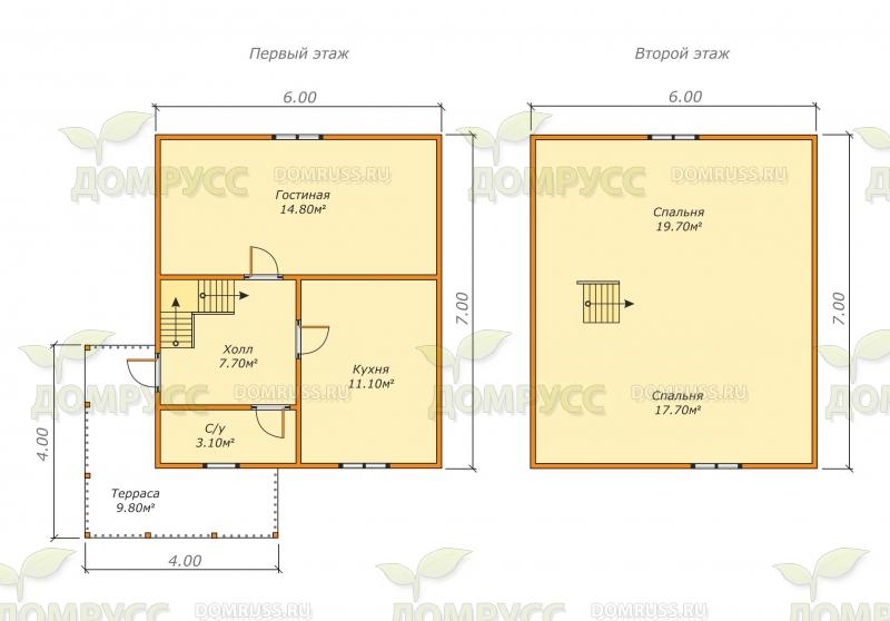 планировка для дома из бруса 6х7