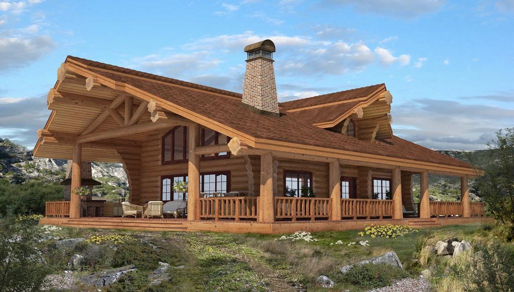 Канадское строение из бревна
