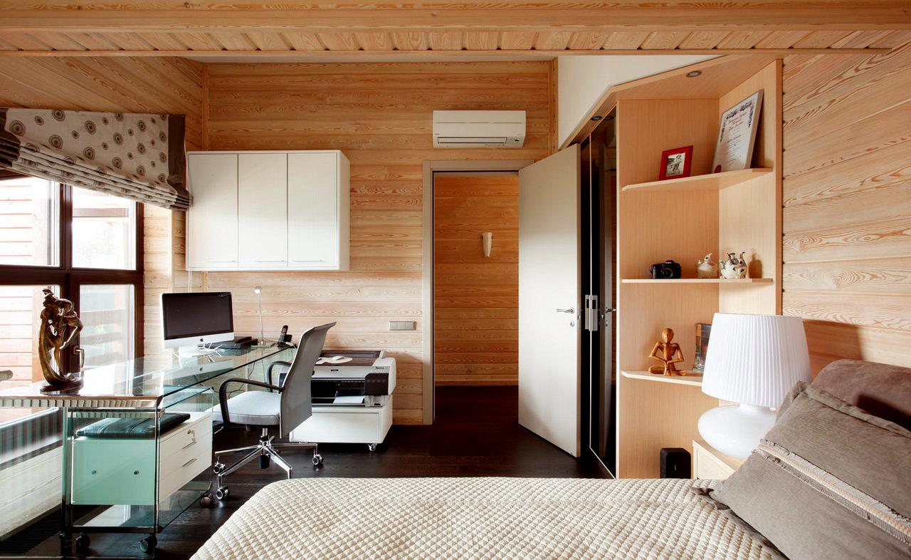 отделка спальни в доме из бруса