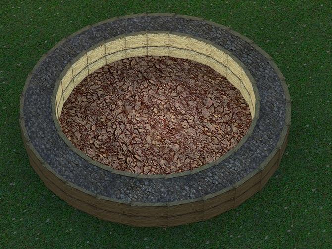 Пространство между кольцами, заполненное каменной крошкой