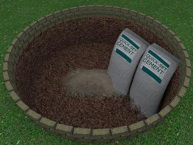 Дно ямы залить бетоном