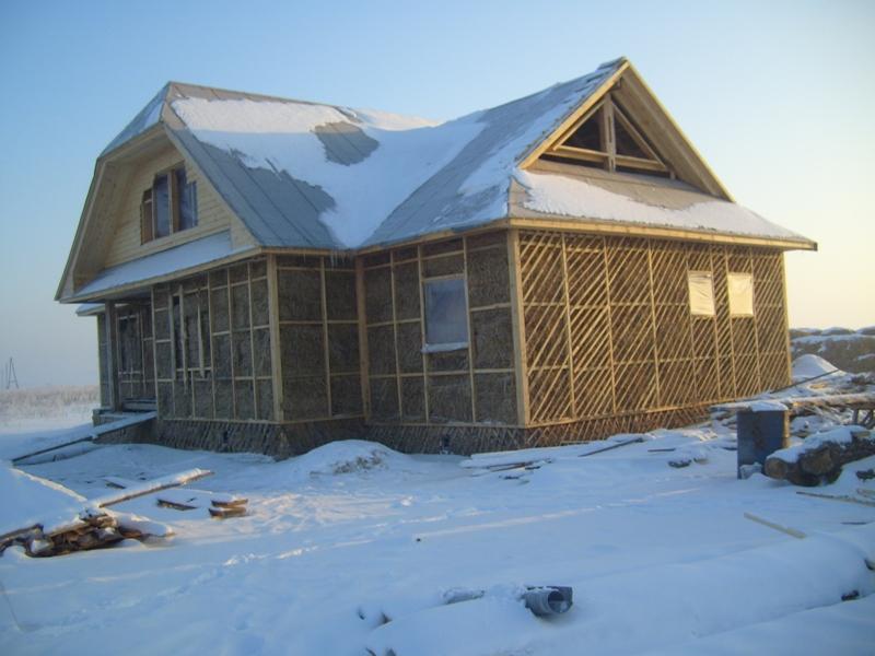 Готовый дом из соломенных блоков