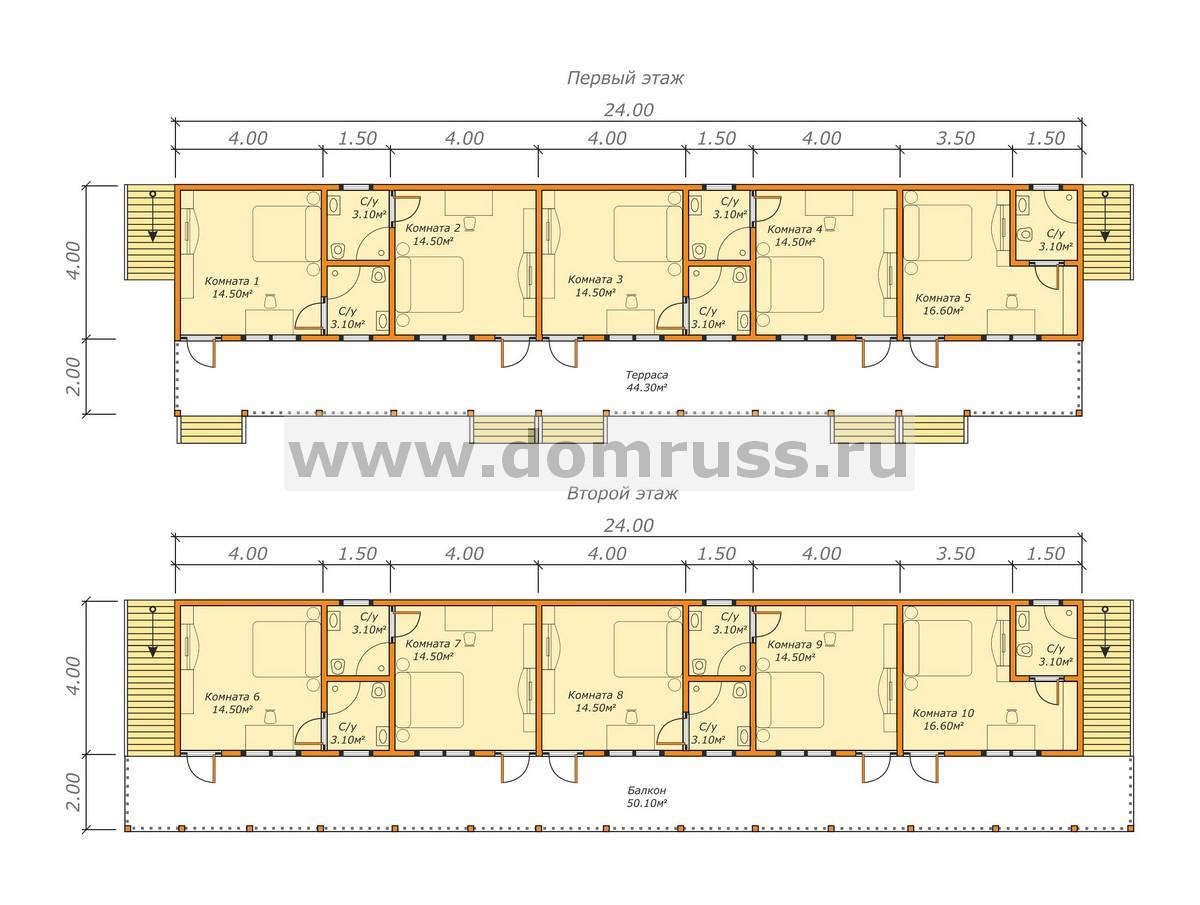 планировка деревянной гостиницы