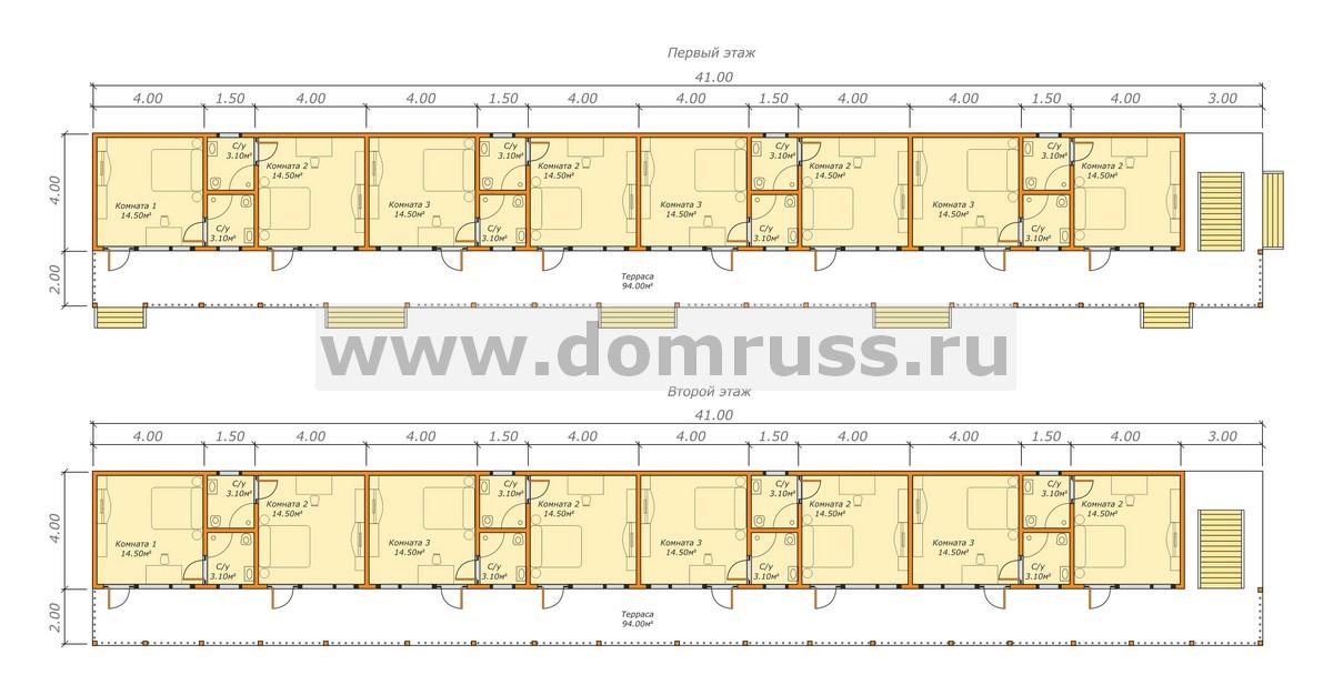план гостиницы из бруса